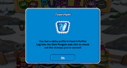 White puffle stamp earned