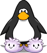 White Puffle Slippers on a Player Card