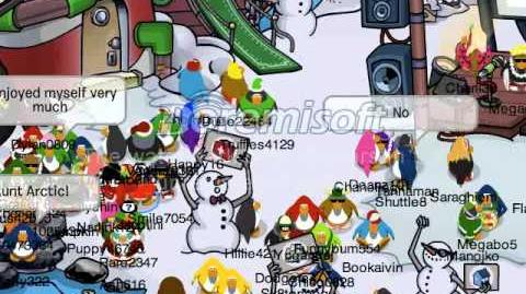 Club Penguin Meeting Aunt Arctic at the Holiday Party 2011