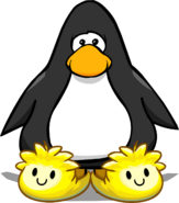 Yellow Puffle Slippers on a Player Card
