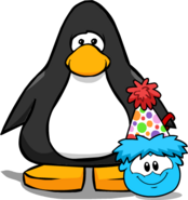 Mini Polka Dot Puffle Hat on Player Card