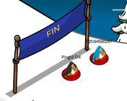 Pinguinos en la Meta de Carrera de Trineos