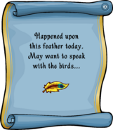 Island Adventure Party 2011 Tropical Feather Pin note