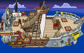 Rockhopper's Quest Migrator sailing to Shipwreck Island