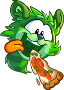 GreenRaccoonPuffleJumpingEatSlicePizza