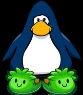 Pantuflas de Puffle Verde tarjeta