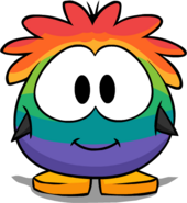 Rainbow Puffle Costume from a Player Card