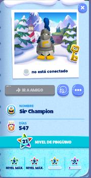 Tarjeta de Jugador Sir Champion Isla de Club Penguin