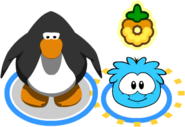 Penguin with Golden O'Berry puffle