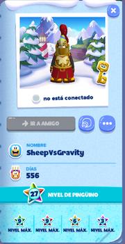 Tarjeta de Jugador SheepVsGravity Isla de Club Penguin