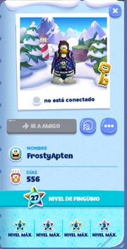 Tarjeta de Jugador FrostyApten Isla de Club Penguin