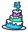 4th Anniversary Cake Pin