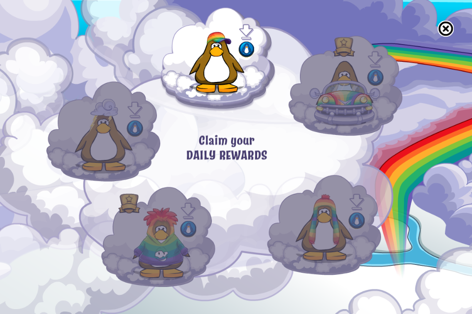 Club penguin rainbow puffle party daily prizes