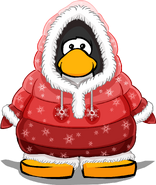 Red Parka on a Player Card