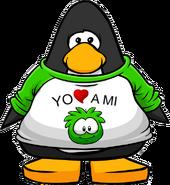 Camiseta Yo Amo a mi Puffle Verde carta