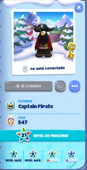 Tarjeta de Jugador Captain Pirate Isla de Club Penguin