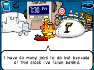 Worker busy with clock