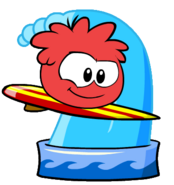 Red puffle taking bath