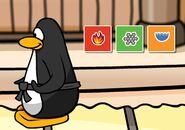 Pinguino ganando una Partida de Card-Jitsu con 3 Cartas