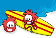 Red Puffle postcard icon