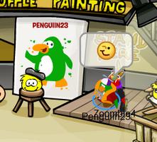 Yellow puffle paints Penguiin23!
