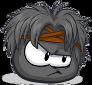 Puffle negro con peinado de guerrero