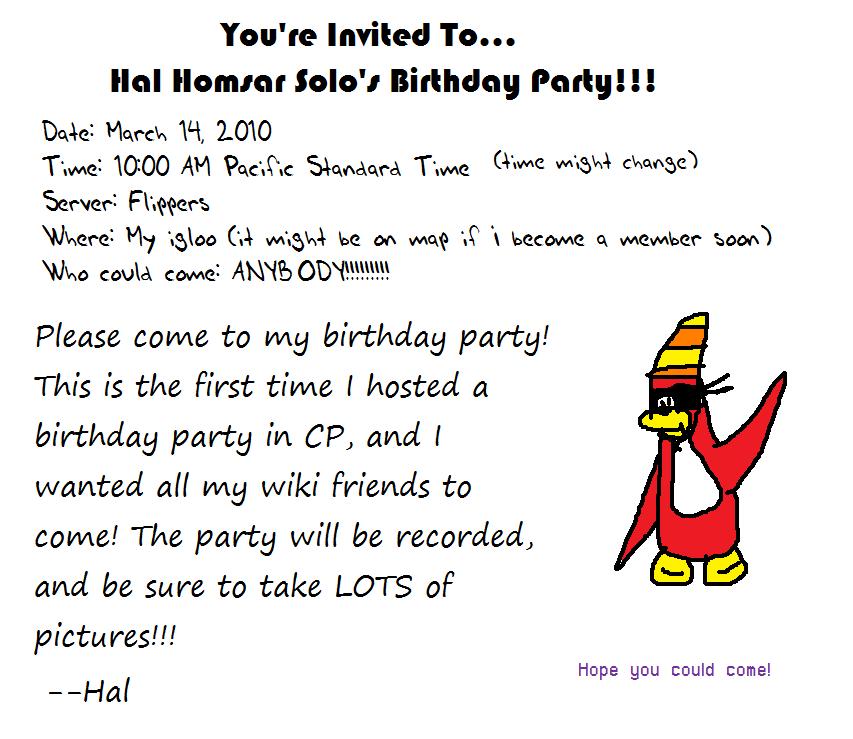 HHS birthday party invitation