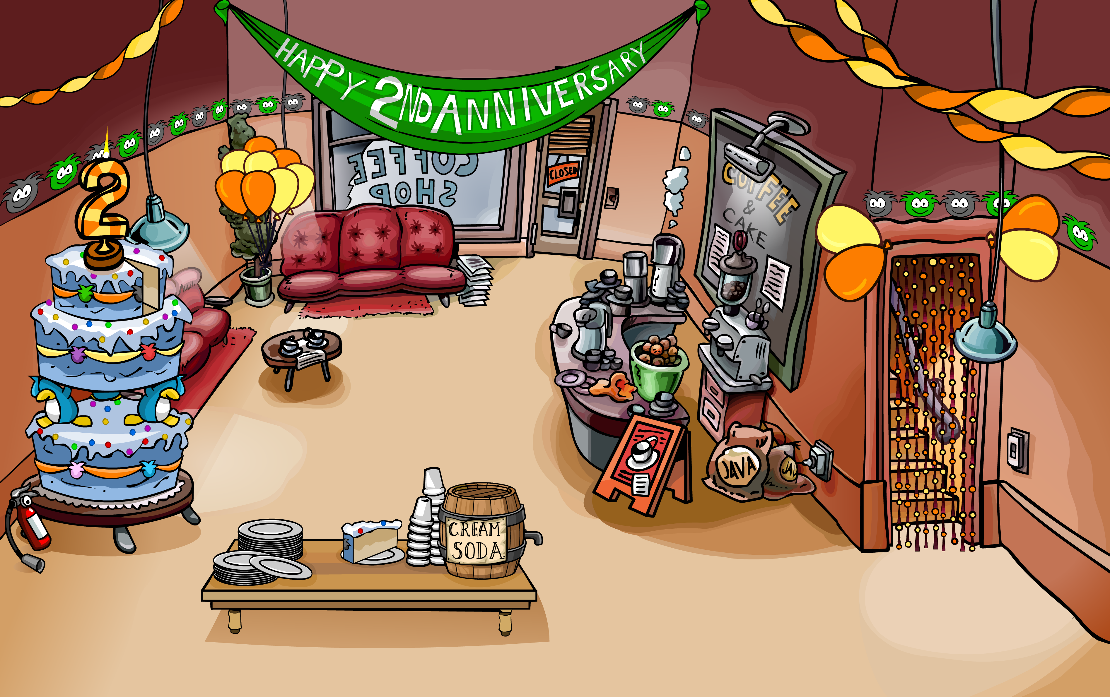 Image nd anniversary party coffee shop club penguin wiki