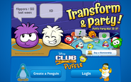Login Screen of Puffle Party 2012