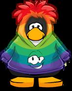 Rainbow Smirk Hoodie on a Player Card