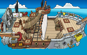 Rockhopper's Quest Migrator sailing to Swashbuckler Trading Post