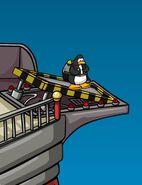 """Pinguino en plataforma de inicio de """"Aventuras en Jet-Pack"""""""