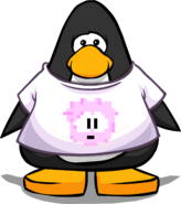 Pink Pixel Puffle Tee on a Player Card