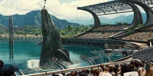 Mosasaurio comiéndose el tiburón