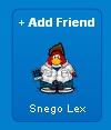 Snego Lex al enviarle una Solicitud de Amistad