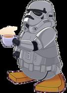 Soldado imperial con cafe