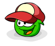 Red Ball Cap Green Puffle