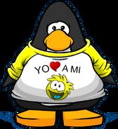 Camiseta Yo Amo a mi Puffle Amarillo carta