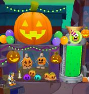 Halloween shop exterior ghosts defeated