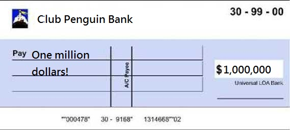 Million dollar cheque