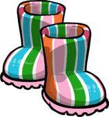 Pink Striped Rubber Boots