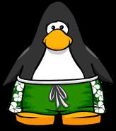 Green Hawaiian Shorts on a Player Card