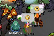 Daffodaily5 asustando a Loustik005 y a Federflink1 (como un zombie)
