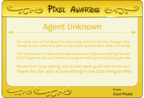Pixel Awards For Agent Unknown