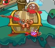 Cangrejos Cuidando tesoro