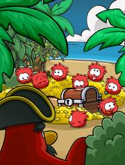 Rockhopper Island Red Puffle Treasure