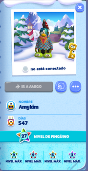 Tarjeta de Jugador Amykim Isla de Club Penguin