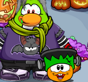 Walking puffle with hand item