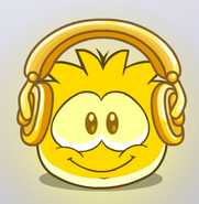 Gold Headphones Puffle interface