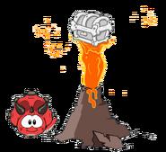 Tricerapuffle rojo excavando
